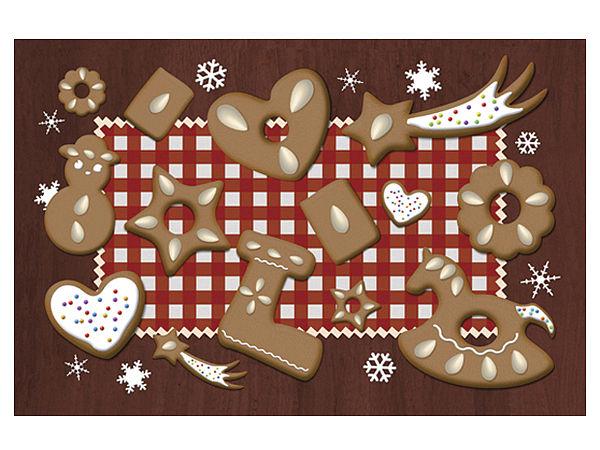 Fußmatte mit Lebkuchenallerlei weihnachtlich gestaltet