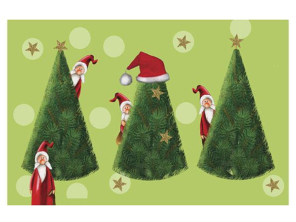 Fußmatte Weihnachtsmänner beim Versteckspiel