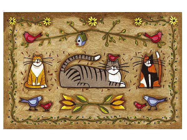 Fußmatte mit witzigem Katzenmotiv