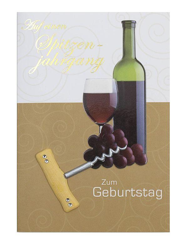 Geburtstagskarte Wein zum Geburtstag mit Briefumschlag