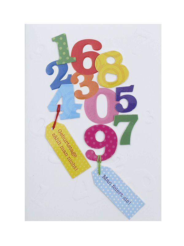 Geburtstagskarte mit Zahlen zum Geburtstag