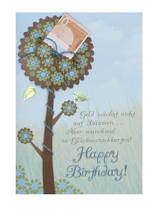 Geburtstagskarte für Geldgeschenke zum Geburtstag mit Baum