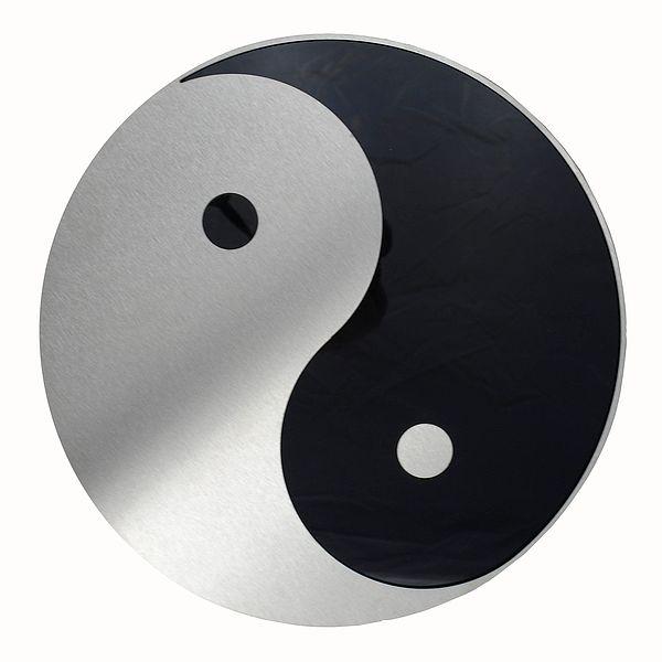 Yin und Yang - Edelstahl Dekoschild für die Wand