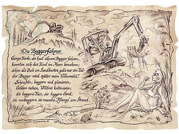 Zunftbild Baggerfahrer auf Antikpapier im A4-Format