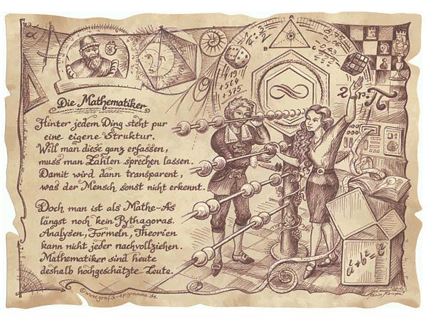 Zunftbild Mathematiker auf Antikpapier im A4-Format