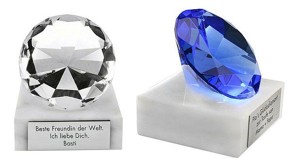 Glücksbringer Glasdiamant mit individueller Wunschgravur