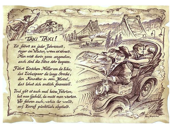 Zunftbild Taxifahrer auf Antikpapier im A4-Format