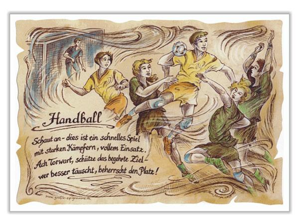 Sportbild Handball auf Antikpapier im A4 Format