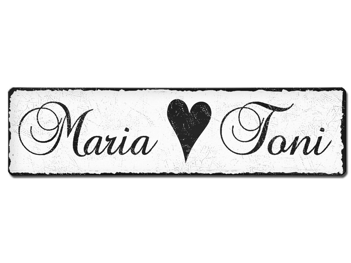 Namensschild mit individuellem Wunschtext im Vintage Stil