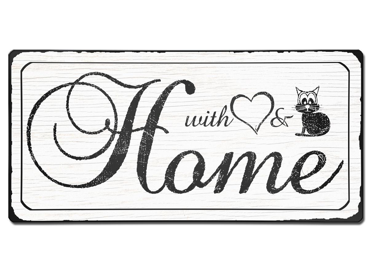 Vintage Stil Schild Home aus Aluminium mit Wunschtext