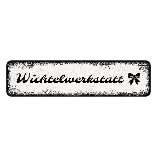 Schild Frohes Fest oder mit eigenem Wunschtext 150 x 35 mm weiß