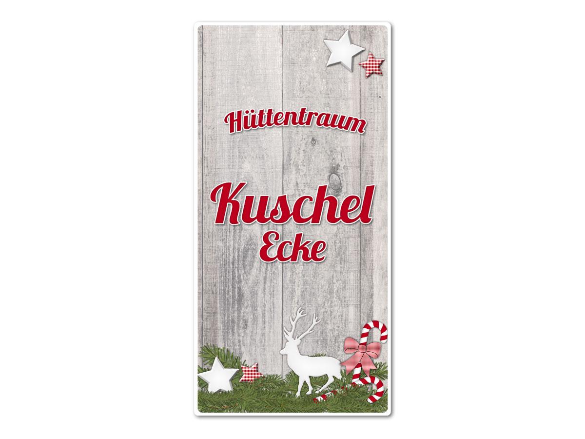 Hüttendeko Aluminiumschild mit Wunschtext - 150 x 300mm