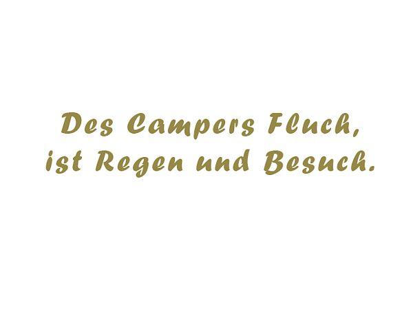 Aufkleber - Des Campers Fluch ist Regen und Besuch - zweizeilig - 60 cm