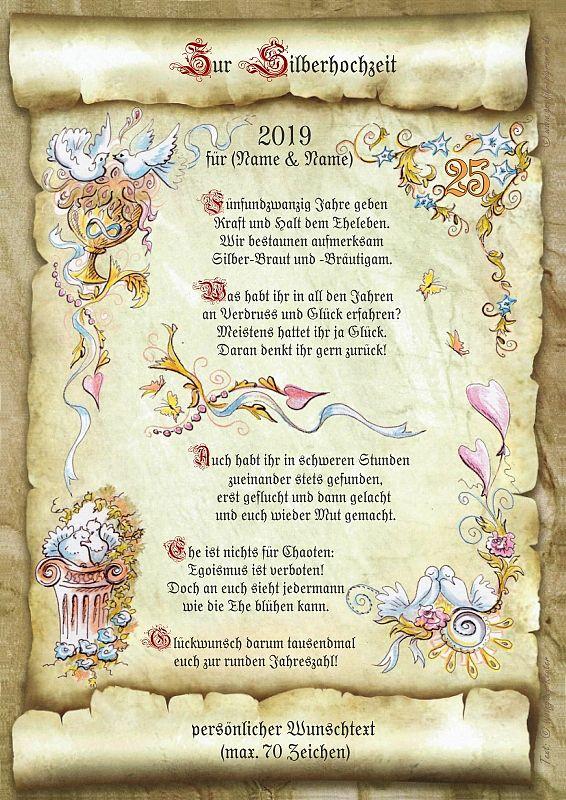 Urkunde zur Silberhochzeit