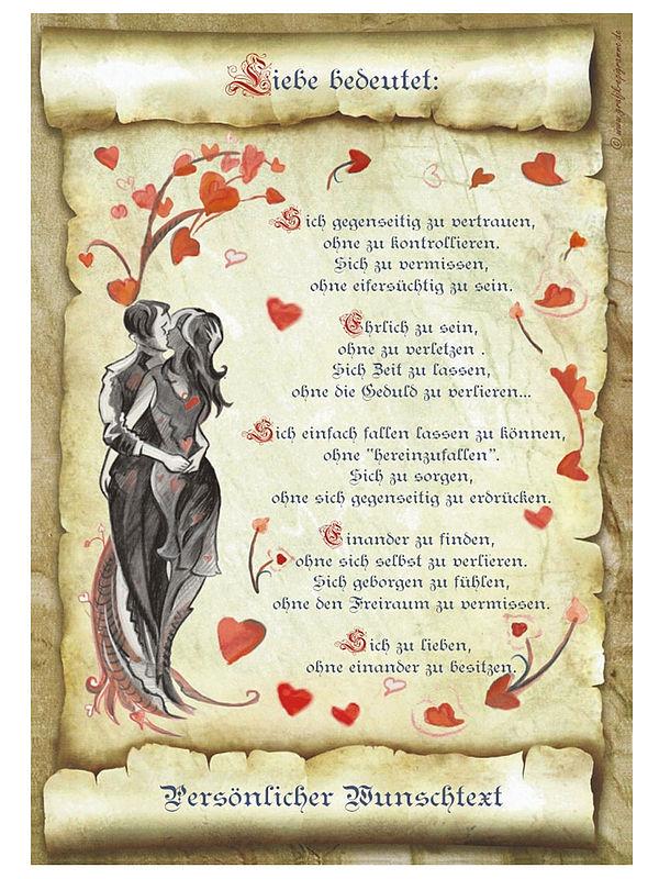 Urkunde Liebe mit Ihrem Wunschtext