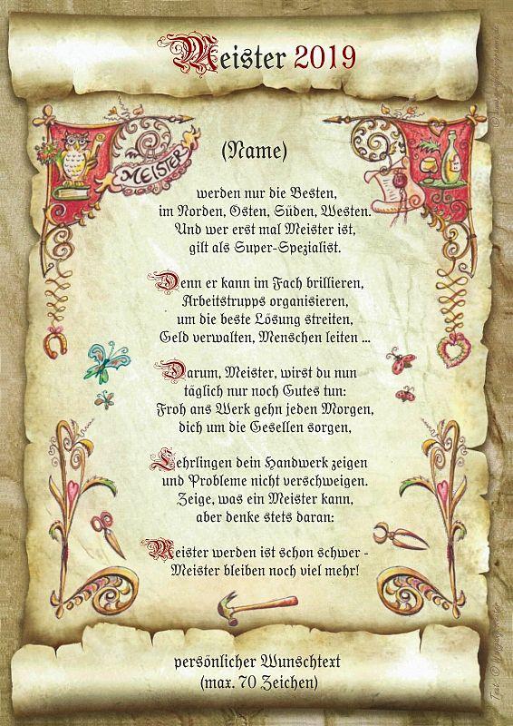 Urkunde Meister mit persönlichem Wunschtext