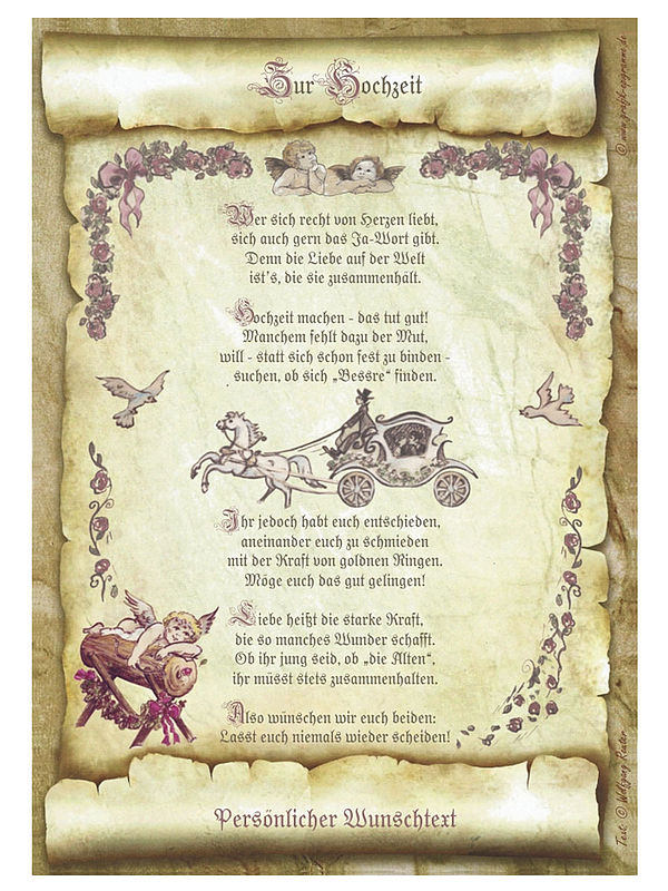 Urkunde Zur Hochzeit Mit Ihrem Wunschtext