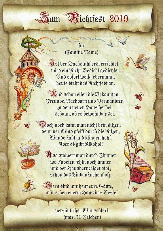 Urkunde Richtfest mit persönlichem Wunschtext