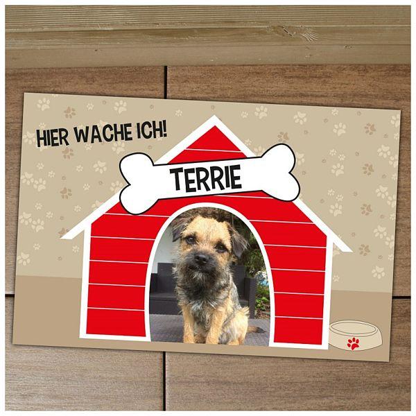 Fußmatte Hundehütte mit individuellem Wunschtext und Bild
