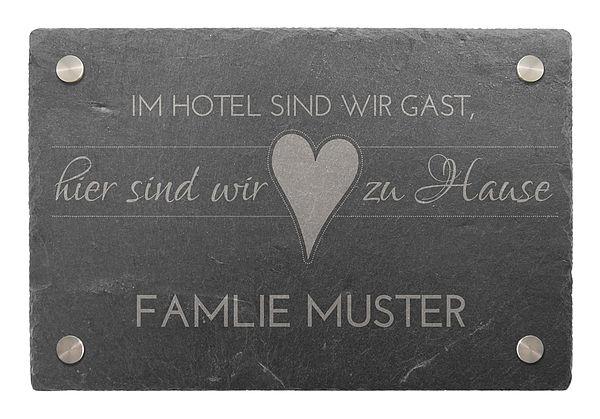 Türschild aus Schiefer 300 x 200 mm - Motiv Zu Hause