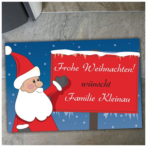 Frohe Weihnachten Wann Wünscht Man.Fußmatte Frohe Weihnachten Und Weihnachtsmann Mit Schild G5756 Ebay