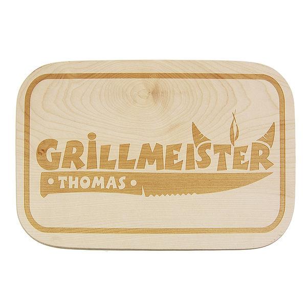 Individuellküchenzubehör - Schneidbrett aus Holz mit Wunschname Motiv Grillmeister - Onlineshop 1a Geschenkeshop