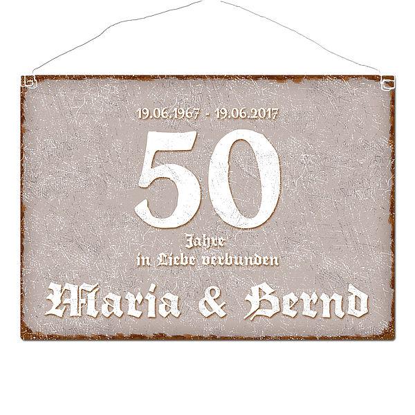Details Zu Schild Goldene Hochzeit Und Namen Im Format A3 Taupe G5830