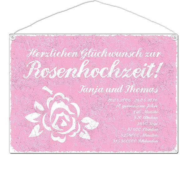 Schild Rosenhochzeit mit Wunschtext - Format A3 rosa
