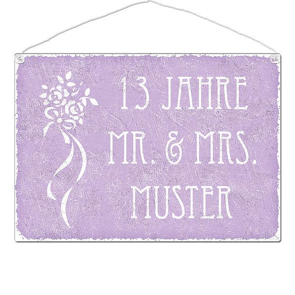 Geschenk zum Hochzeitsag - 13 Jahre Mr. und Mrs. und Name - Schild A3 violett