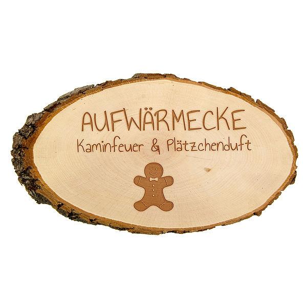 Baumscheibe mit Gravur als winterliche Dekoration