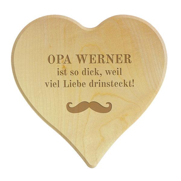 Schneidebrett aus Holz in Herzform für den besten Opa Größe: 24 x 24 x 1,4 cm
