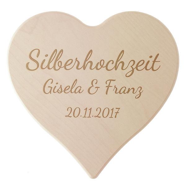 Schneidebrett aus Holz mit Gravur zur ''Silbernen Hochzeit'' Größe 24 x 24 x 1,4 cm