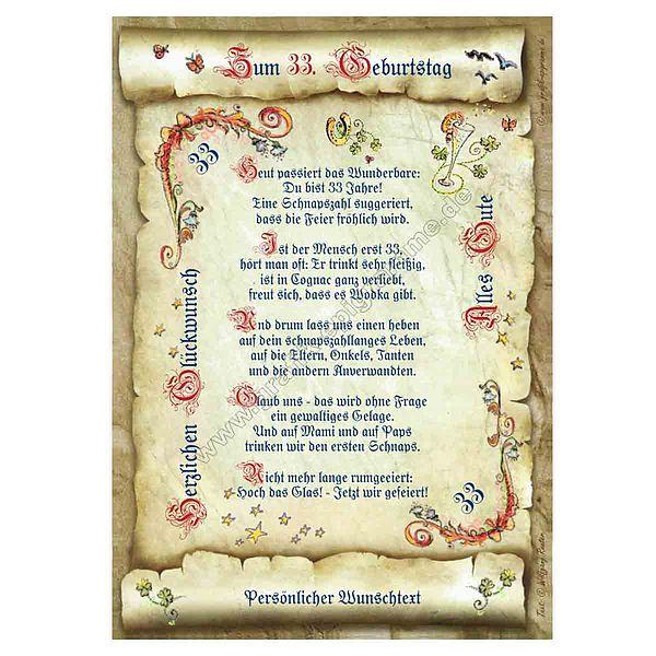 Urkunde zum 33. Geburtstag mit Ihrem Wunschtext