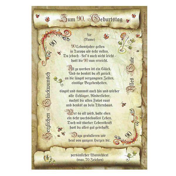 Urkunde zum 90. Geburtstag mit Ihrem Wunschtext