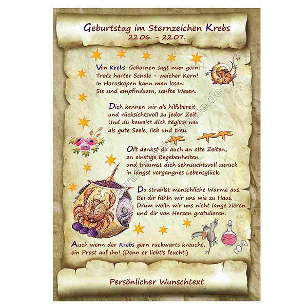 Urkunde zum Geburtstag - Sternzeichen Krebs