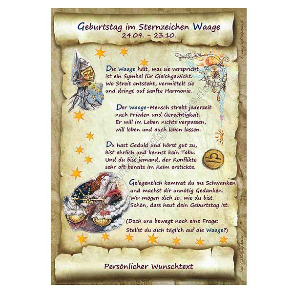 Urkunde Zum Geburtstag Sternzeichen Waage Online Geschenkeshop