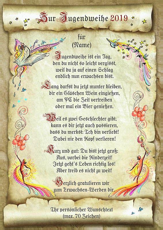 Urkunde zur Jugendweihe mit Ihrem Wunschtext