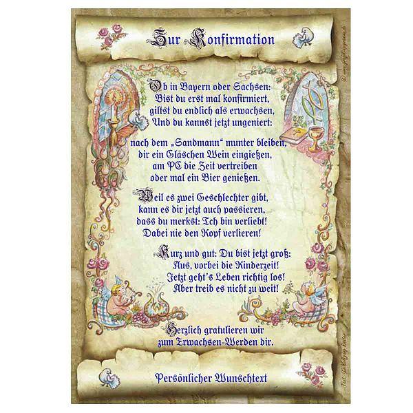 Urkunde zur Konfirmation mit Ihrem Wunschtext