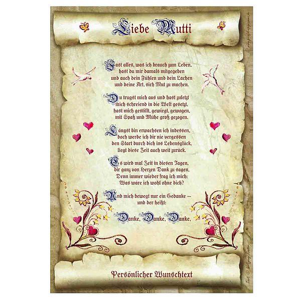 Urkunde für die liebe Mutti mit personalisiertem Wunschtext