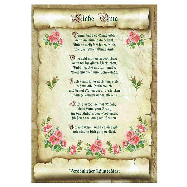 Urkunde für die liebe Oma mit personalisiertem Wunschtext