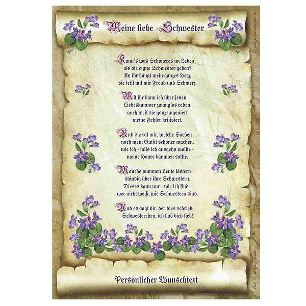Urkunde für die liebe Schwester mit personalisiertem Wunschtext