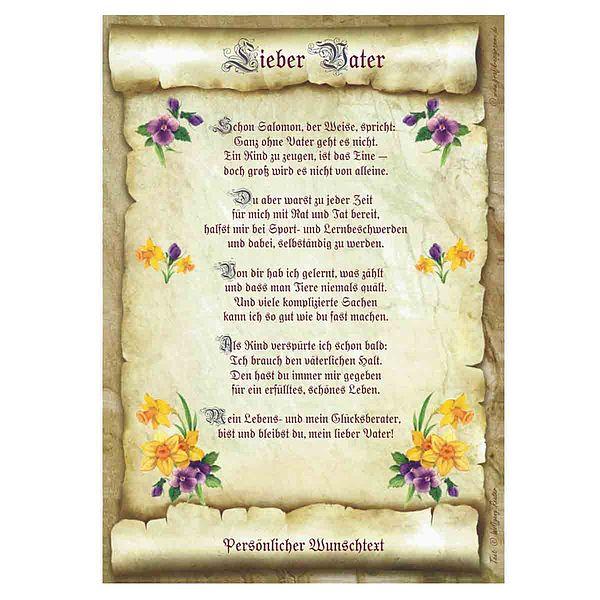Urkunde für den Vater mit personalisiertem Wunschtext
