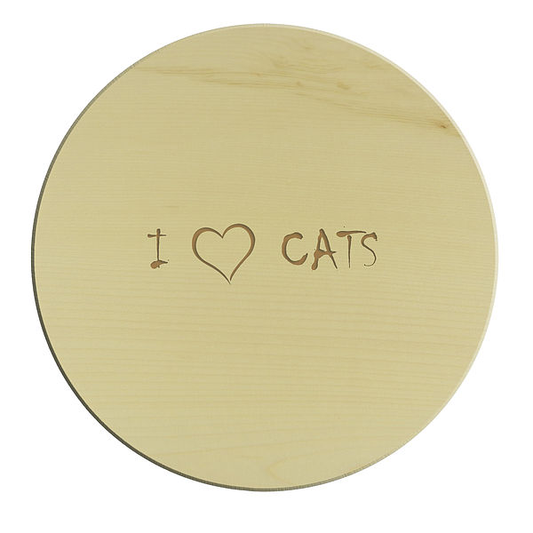 Schneidebrett rund - I love Cats