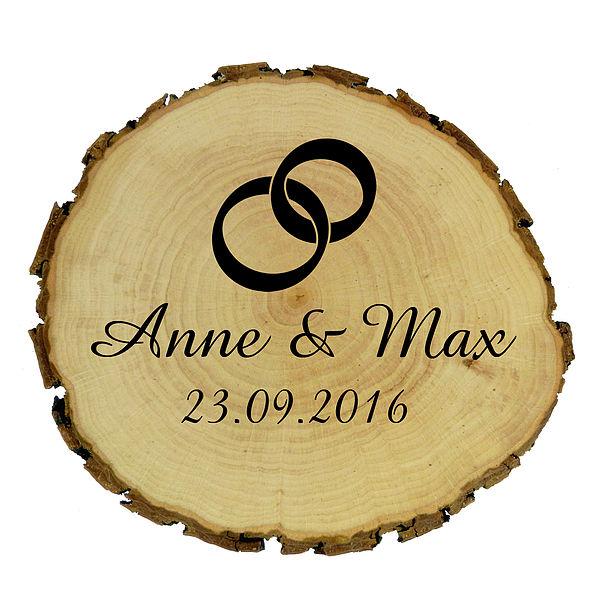 Holzrindenschild mit Wunschtext und Symbol Größe: ca. 9 - 10 cm