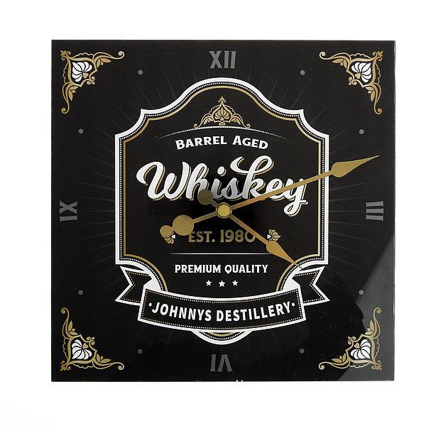 Whiskey Uhr mit Namen 30x30cm anthrazit