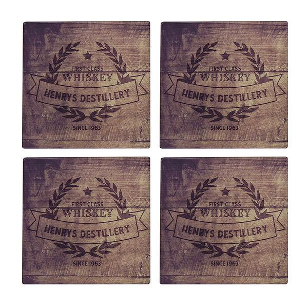 Untersetzer für Whiskyliebhaber 4er Set mit Namen und Jahr Design 1