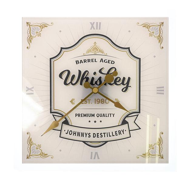 personalisierte Whiskey Uhr aus Acryglas 30x30cm cremeweiß