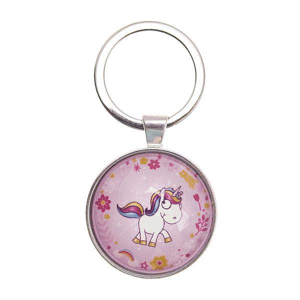 laufendes Einhorn auf Schlüsselanhänger rosa