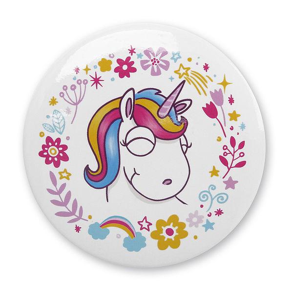 Taschenspiegel mit Einhorn und Blumenmotiv weiß