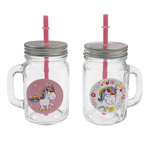 Trinkglas mit Comic Einhorn 2er Set weiß/rosa